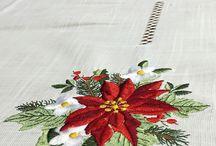 flores de Navidad bordadas