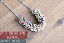 Cluster necklace, cluster earrings and bracelet