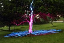 lightning hitting objects