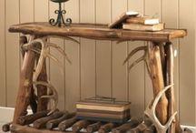 muebles con troncos y ramas