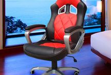 Modern Office Chair Leather Racing Sport Red Black Home Desk Table Ergonomic