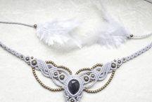 MacrameNecklace / MacrameNeclace inspired by earth boho style gemstones steampunk and etnic