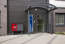 The University of Herfordshire Project / Multiple banks of freestanding mailboxes integrated with 'Dry Riser' fire safety units. Also featuring a number of individual wall mounted mailboxes.