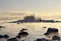 Rannoilla. Talvi. / Lauttasaaren rantaa talvella.
