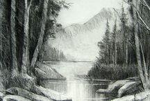 Tegning, landskap