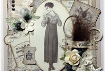 Forties style lady / Card with sewing icons