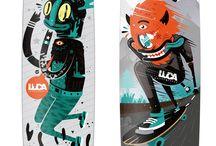 skateboard and illustrations