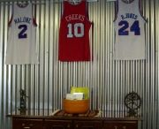 Philadelphia 76'ers Sixers / Sixer Jerseys displayed using the Ultra Mount jersey display hanger. A great affordable alternative to jersey frames.