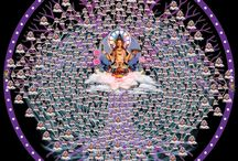 Indra's Net: Cosmic Interpenetration / Everything vibrates = alive consciousness, sentient beings,  and connected energies. Past, present, future = all pregnant in  the eternal now. There, over there, and way over there are all here besides me = them, the others, and strange others are all within us.   Illusion and reality are within our expanding minds.  / by Wayne Stein