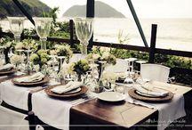 Almoço no casamento na praia