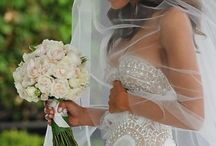 wedding dress & flowers