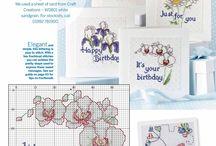 Flower cross stitch mini