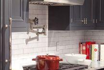 grey red kitchen