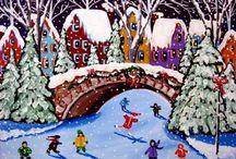 winter paintings kids