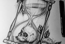 часы, череп, розы