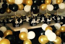 black, white and gold theme party