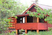 BBL - Cabin 1 / Cabin 1 - Sleeps 6, includes a wood burning fireplace, full kitchen, 3/4 bath, large screened porch on one side that looks out on Poplar Lake and platform deck on the other.