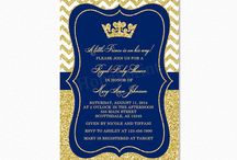 Royal Blue and Gold Prince Baby Shower Ideas / Royal Blue and Gold Glitter Prince Baby Shower Ideas