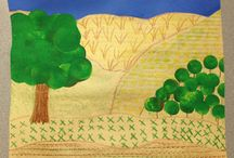 Grant Wood - Art projects for kids & K-8 students / Grant Wood Curriculum & Art Projects for Kids- Art Elements Taught Color- Art, Activity- Emphasis Agricultural Patterns and Texturing, Student Art Supplies.