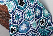 Blue and white crochet blankets