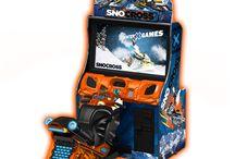 arcade video game (snowmobile racing)