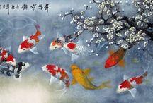 Koi fish painting / immagini da stampare e incorniciare