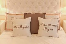 Master Suite / Bedroom, Suite, Neutral, Grey, Bege, White, Mr. Right and Mrs. Always Right, Headboard, Cushions, Quotes