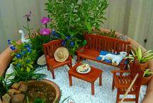 Montagem de plantas com miniaturas