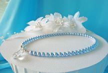Something Blue Wedding Accessories / Swarovski Crystal and Pearl Something Blue Bridal Accessories from www.crystalbluedesigns.etsy.com