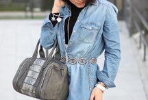 Chic DEnim / #WorkingGirl #StreetStyle #Fashion #FashionBlog #GreyCoat #DenimDress #OverTheKneeBoots #Style #Fashion http://gabbynnia.com