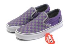 Vans Men & Women Classic Checkerboard Slip-On Shoes Purple/Gray