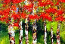 Arte en Arboles / Pintura abstracta y mixta sobre lienzo