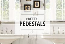Pretty Pedestals / Pedestal sinks are a favorite in bathrooms of all shapes, sizes and styles