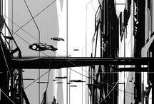 City inspiration - BW, Ink