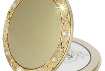 Compact Mirror Gift Round Swarovski Elements Engraved Handbag Bridesmaid Travel