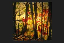 From the depths of the forest, מעמקי היער / Ligted picture, fused and painting on glass, measure 30x30 cm  d 3 mm , Spectrum glass, תמונה מוארת כולל גוף תאורה