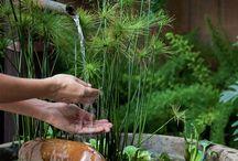 Varanda, fontes, plantas, verde, flores...encanto e paz