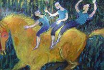 cheval et trio / trio à dos de cheval