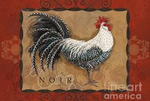 Shari Warren Roosters Art / Collection of Rooster Paintings for Kitchen or Dining Room Decor.