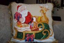 cojines navideños pintura en tela