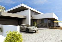 Dachformen moderne Architektur / Bauwerke in moderner Architektur mit unterschiedlichen Dachformen und Dachneigungen.