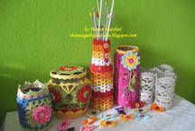 Vidros reciclados em crochê / Vidros emcapados com crochê