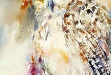 Owl Paintings / All kind of owls ..cute and cuddly; alert and fierce!