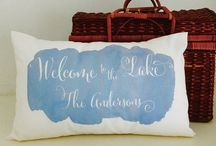 Lake House / Lake life decor for the summer home or cabin.  Lake house pillows can be personalized with family name.
