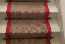 Sisal Stair Carpet With A Red Border / Client: Private Residence In West London. Brief: To supply & install new carpet to stairs as a runner.