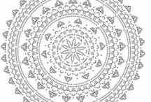 mandaly, kruhy, veľké štvorce