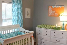 Nursery decor / Ideas for wall decor design and placement.  Colours.  Shelving