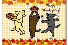 Labrador Retriever Thanksgiving / Cute Labrador Thanksgiving Greeting Cards and Postcards and more by Naomi Ochiai, HappyLabradors.com