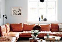 Cognac and tan leather couch