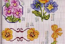 cross stitch Violetes and Pansies